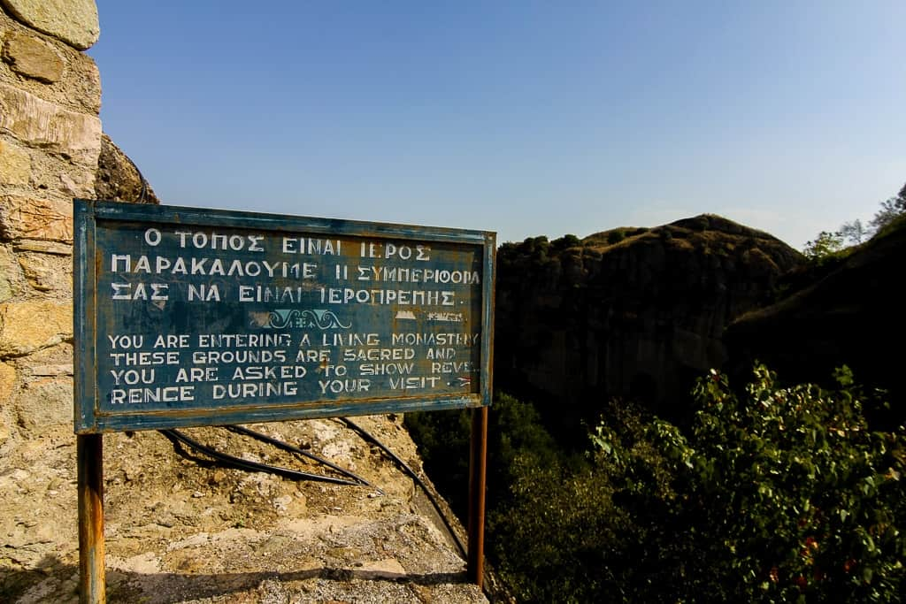 Entrance Sign to Respect the Meteora Monasteries