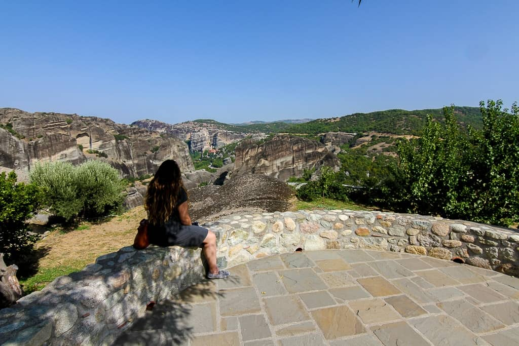 Looking out at the other Meteora Monasteries from Holy Trinity Monastery
