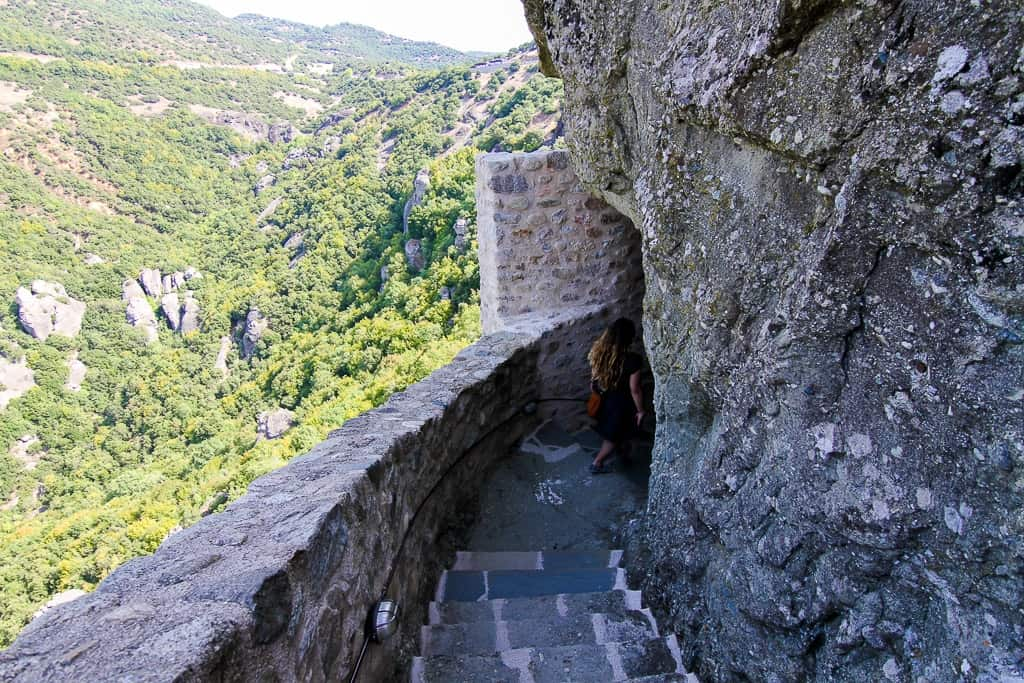 The winding staircase to get to and from the Holy Trinity Monastery at the Meteora Monasteries