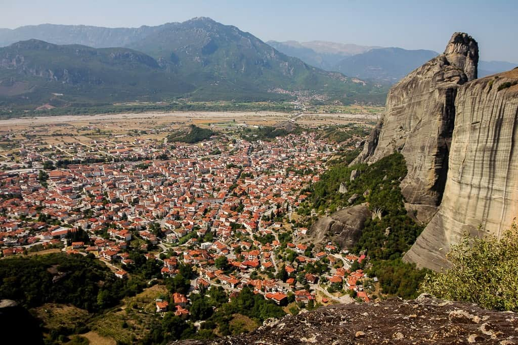 The view of the town below the Holy Meteora Monasteries