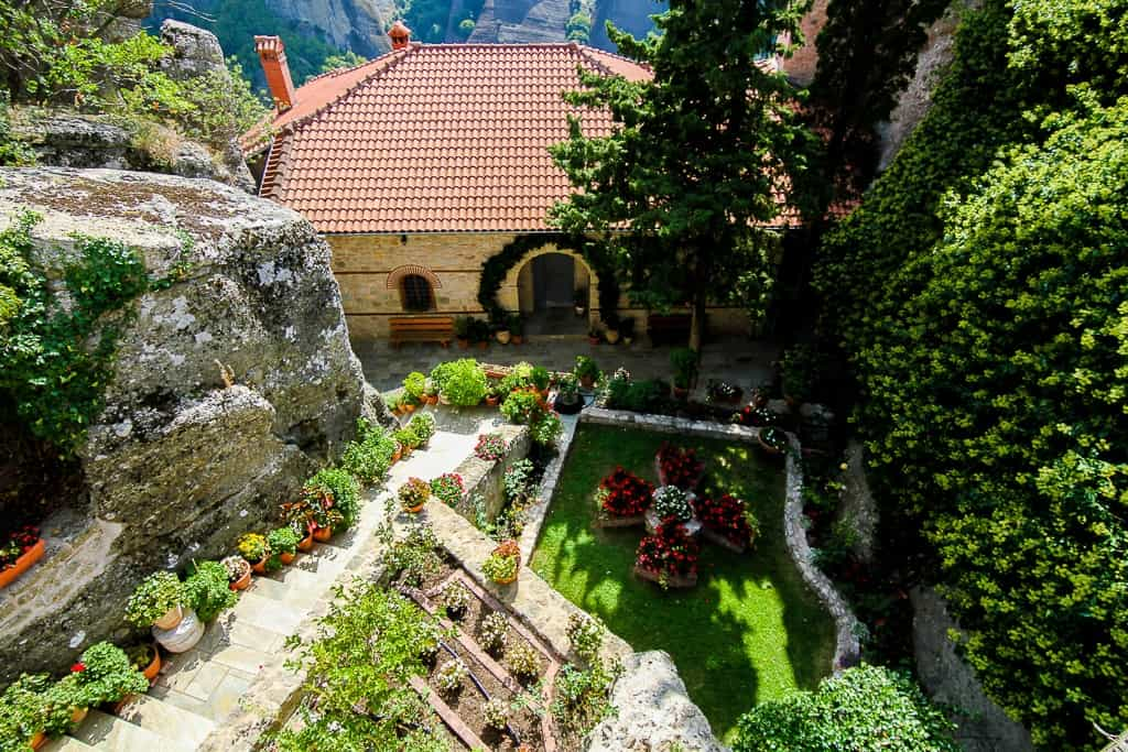 The garden at the Holy Monastery of Rousanou