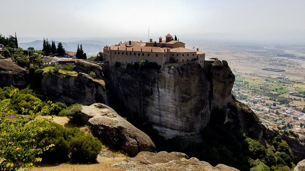 St. Stephen's Monastery from afar at the Meteora Monasteries