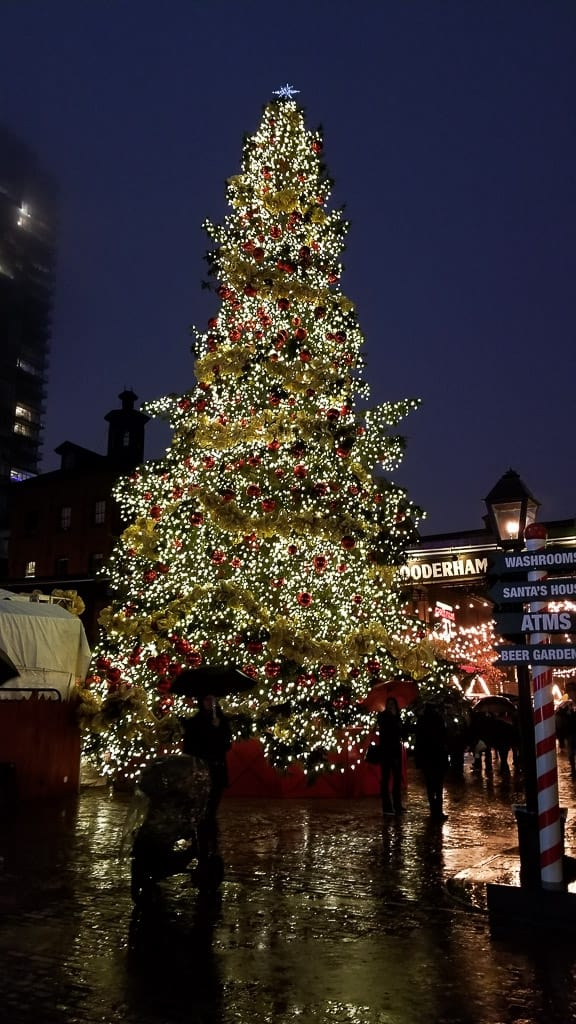 The giant tree at the Toronto Christmas Market