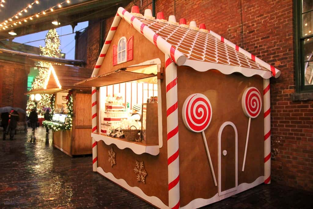 Gingerbread houses as part of Toronto Christmas Market decorations