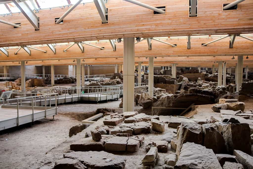 exploring akrotiri ruins is one of the things to do in santorini