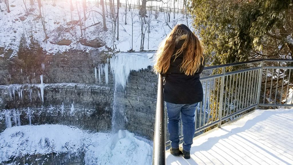 Tew Falls is one of the Hamilton Waterfalls in Winter