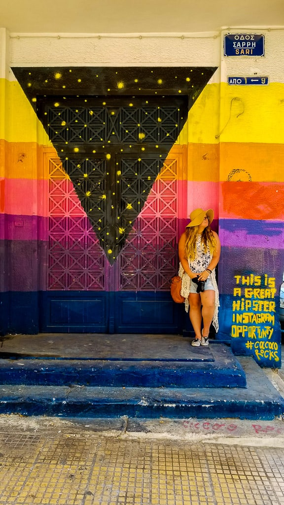 Posing with Street Art in Athens