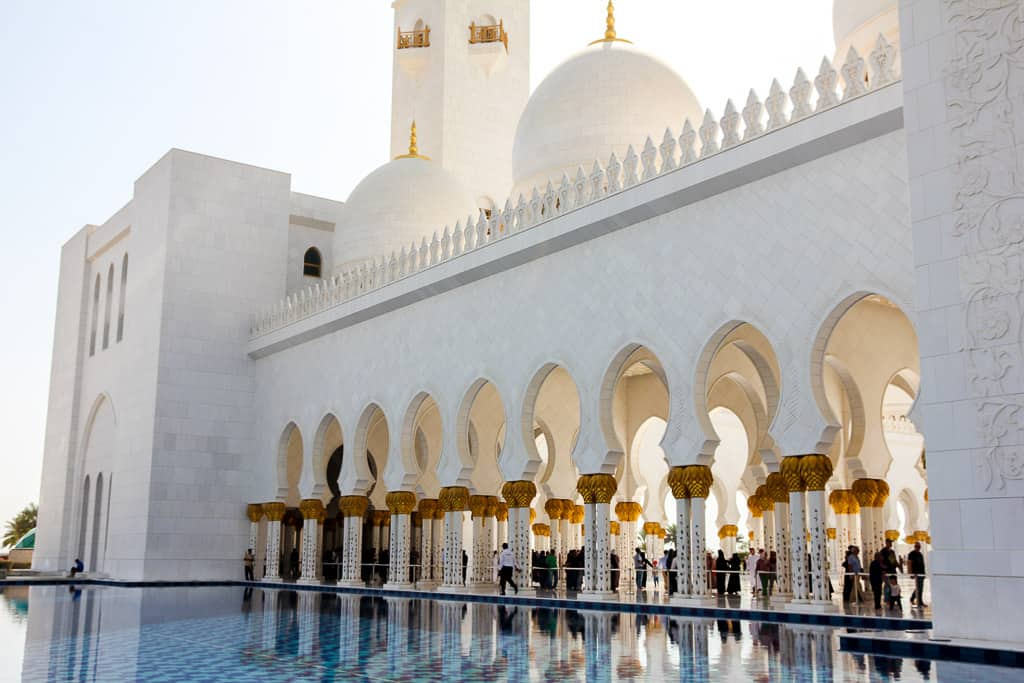 Reflective pools at the Grand Mosque