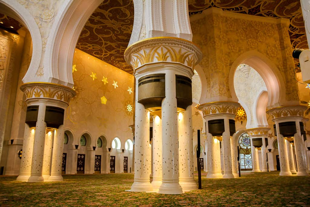 Some of the 96 columns supporting the main domes on the inside of the prayer hall