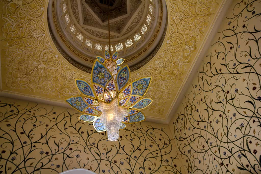 One of the seven crystal chandeliers in the Grand Mosque