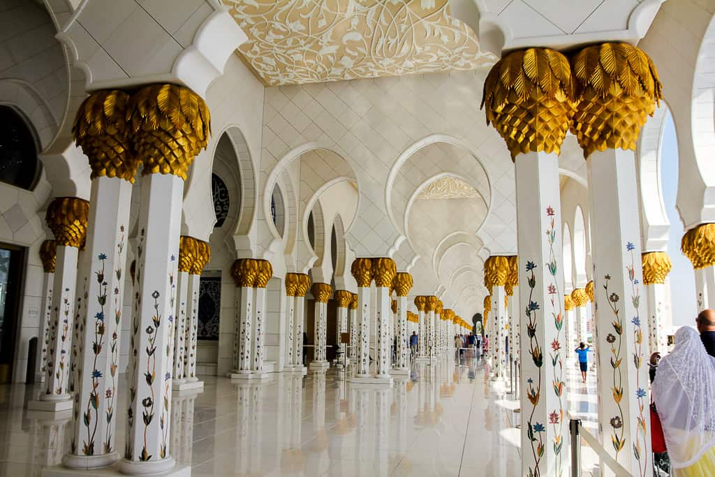 Some of the 1096 columns in the arcade surrounding the mosque