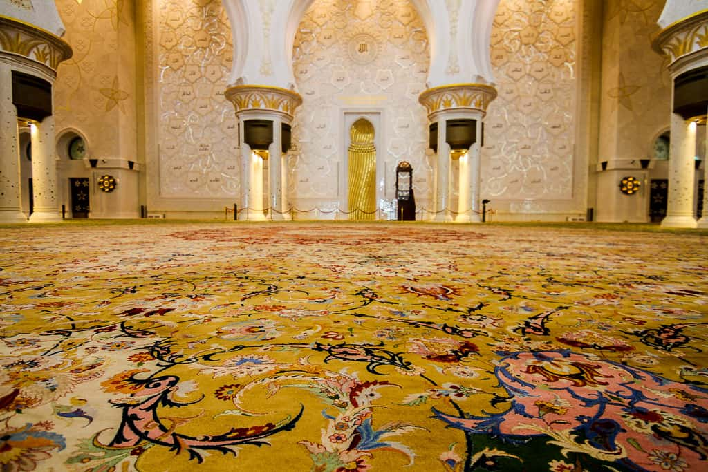 Details of the stunning carpet inside the main prayer hall