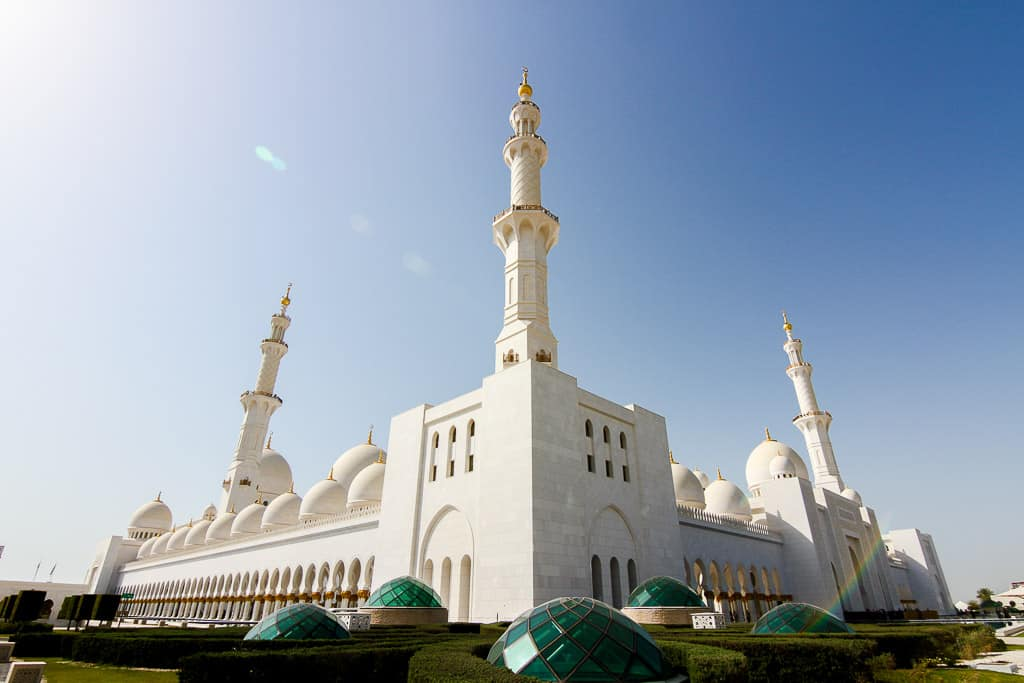 The green domes around the grounds of the Sheikh Zayed Grand Mosque