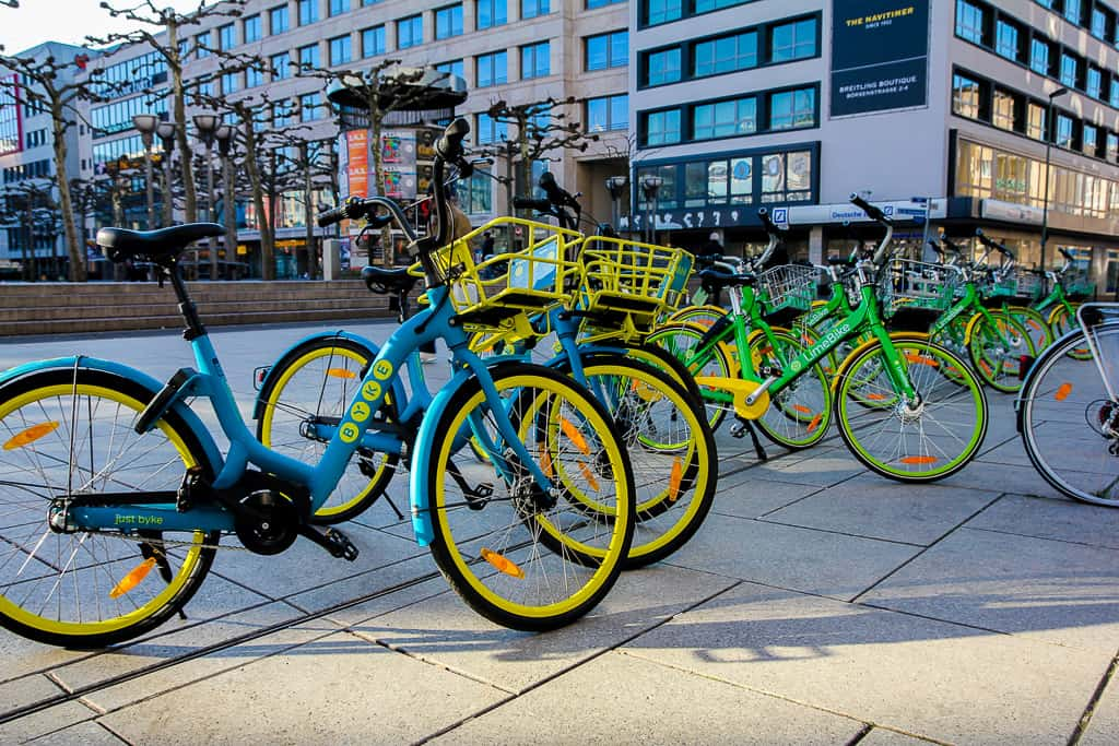 Colorful bikes around Frankfurt