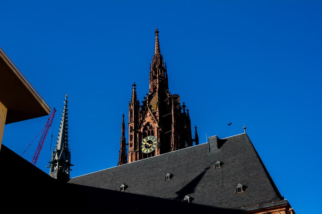 The top of the tower of the Frankfurt Cathedral