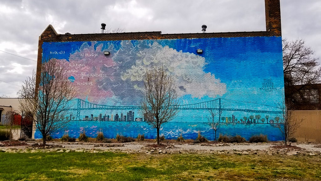 Stunningly large mural on the side of an abandoned building in Detroit