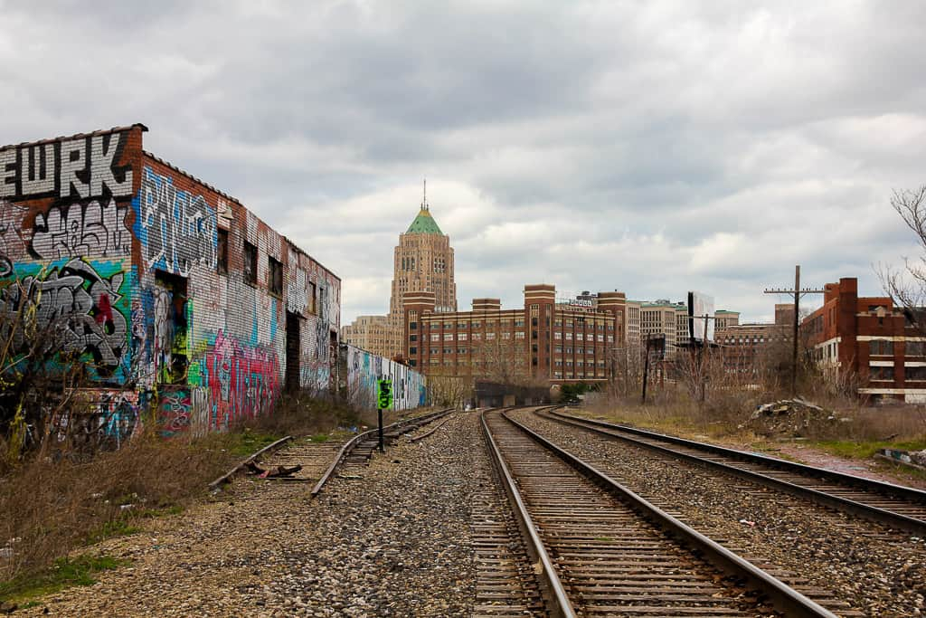 The view of Lincoln Street Art Park from the train tracks