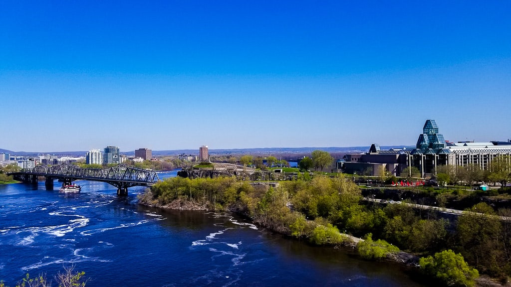 The view from behind Parliament overlooking the Ottawa River
