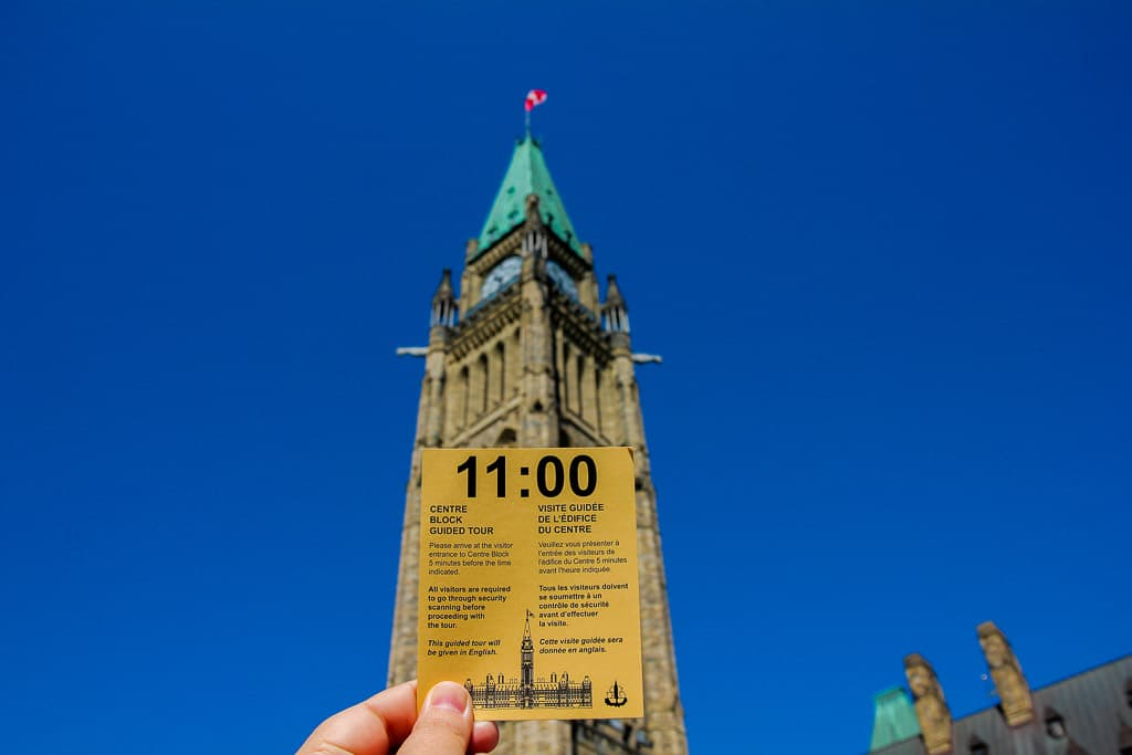 The ticket you're handed that guarantees your entry to the Parliament of Canada Tour!