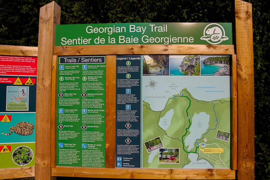 Map of the available trails near the Tobermory Grotto