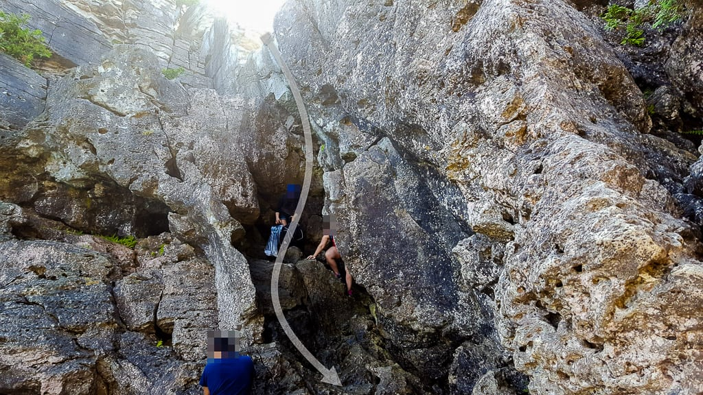 Climbing down the Tobermory Grotto