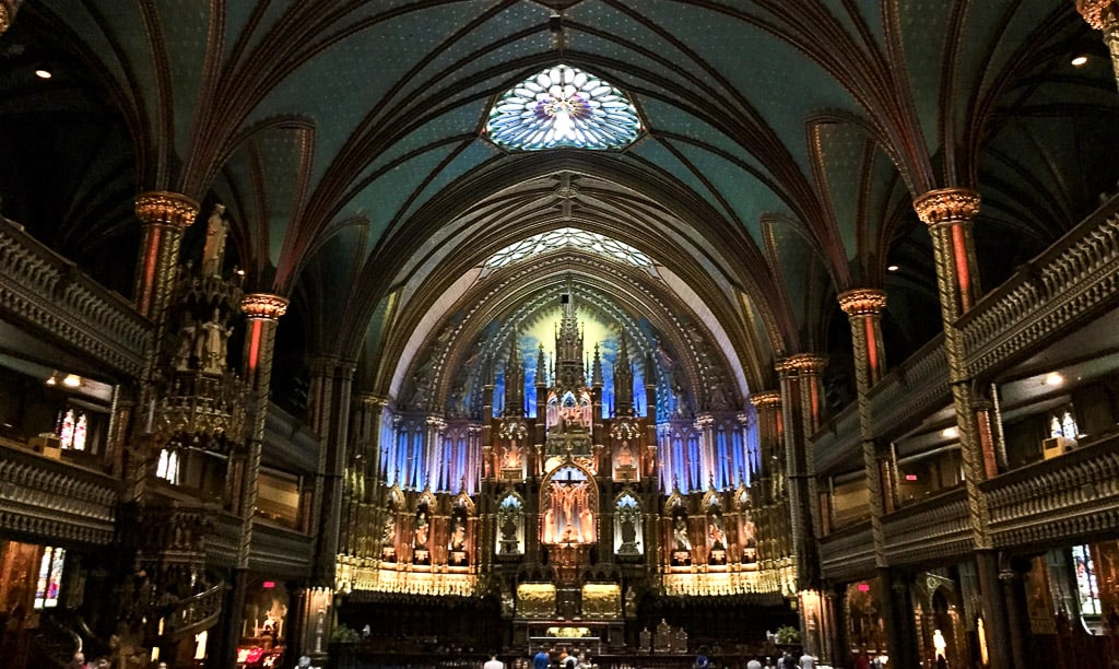 Notre Dame Basilica in Montreal is one of the most beautiful places in Canada