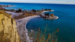 Hiking Scarborough Bluffs is one of the things to do in Toronto this winter