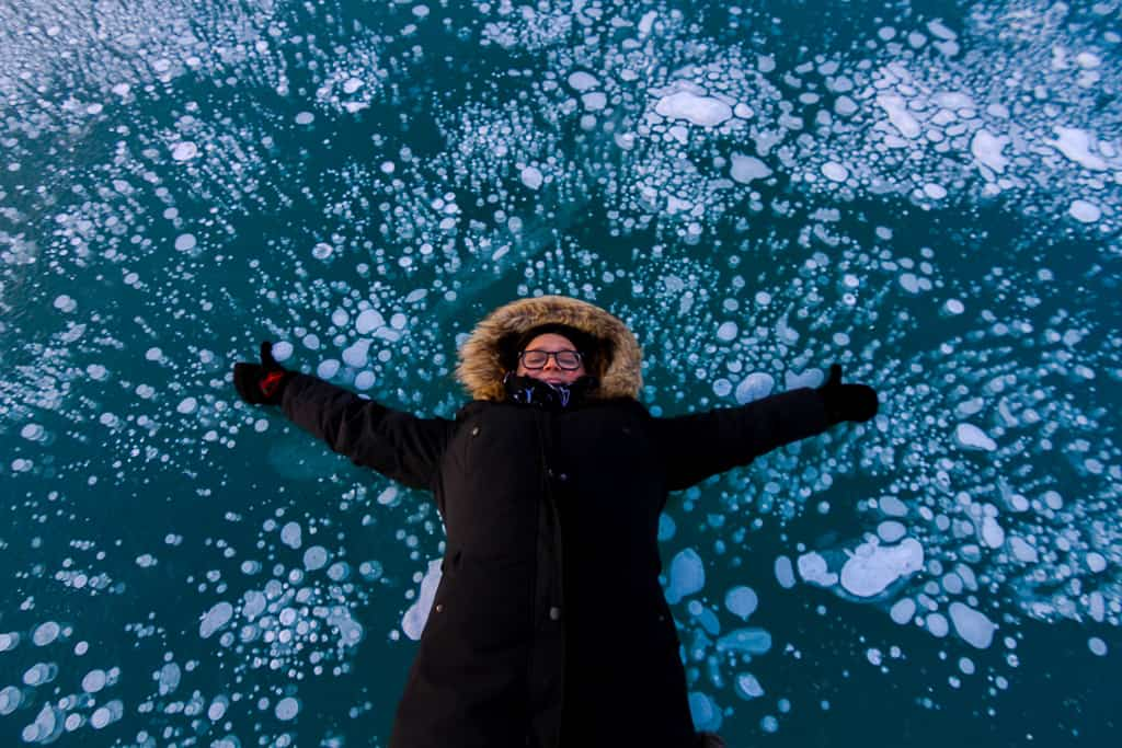 A photo shoot at Abraham Lake in Alberta, Canada was one of the top travel moments of 2018