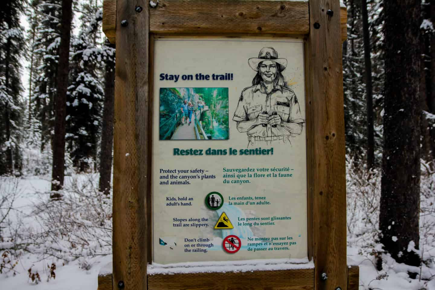 Staying on the trail is important for hiking the Johnston Canyon