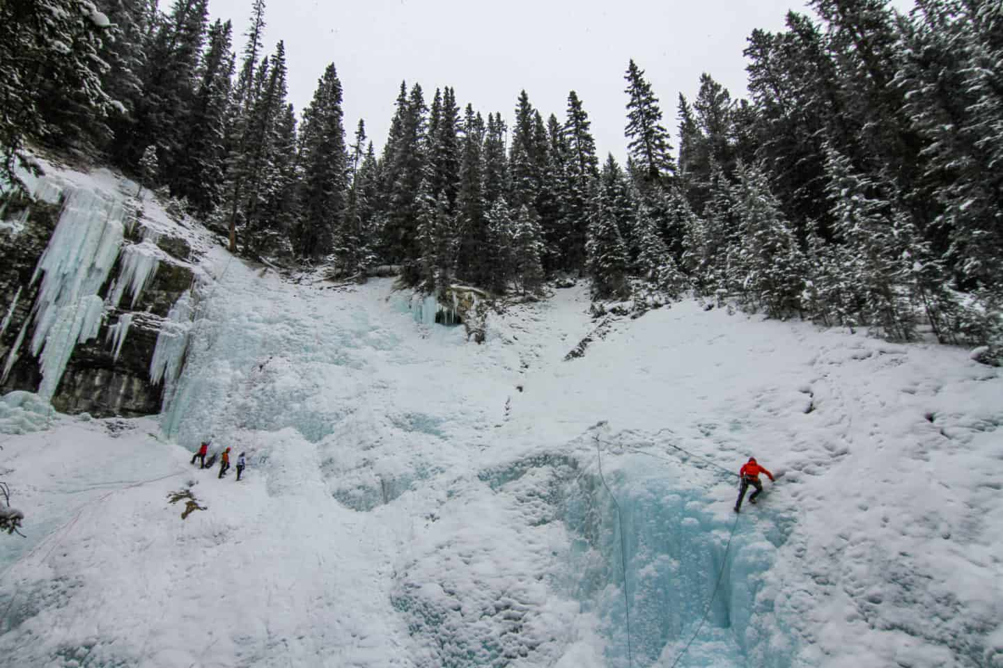 Ice climbing can be done in the winter when hiking Johnston Canyon