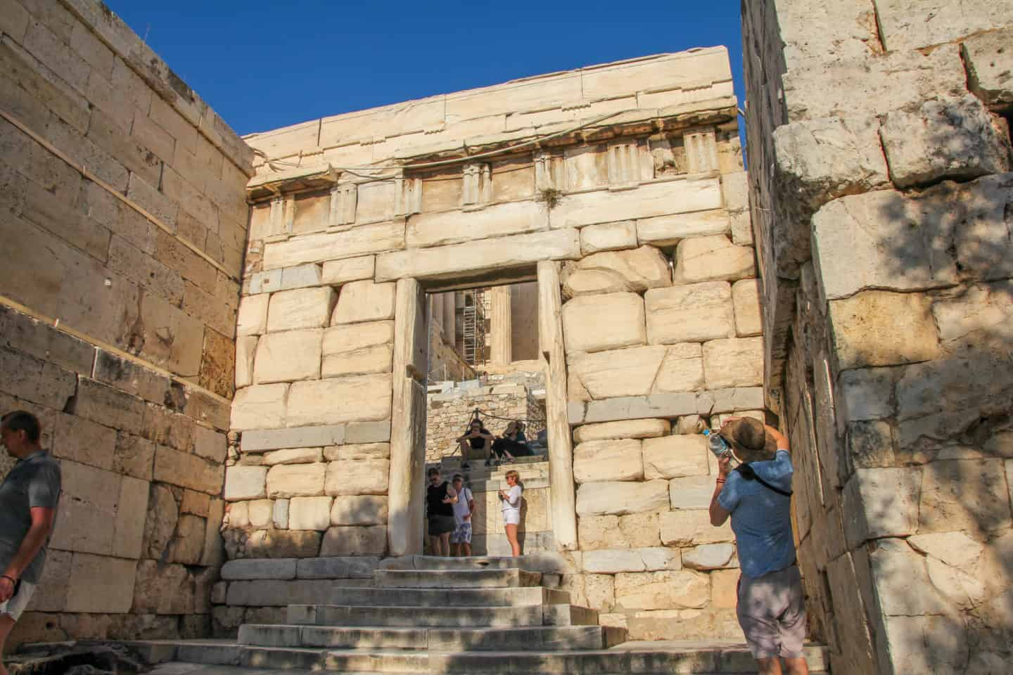 Walking through the Entrance Gate to the Acropolis is vital!