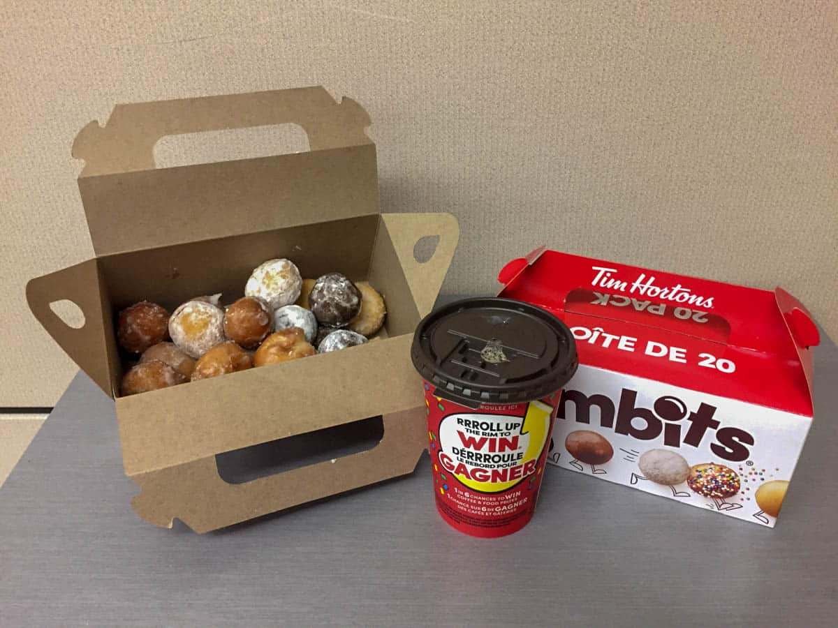 A box of Timbits and a double double coffee is one of the traditional Canadian foods you have to try