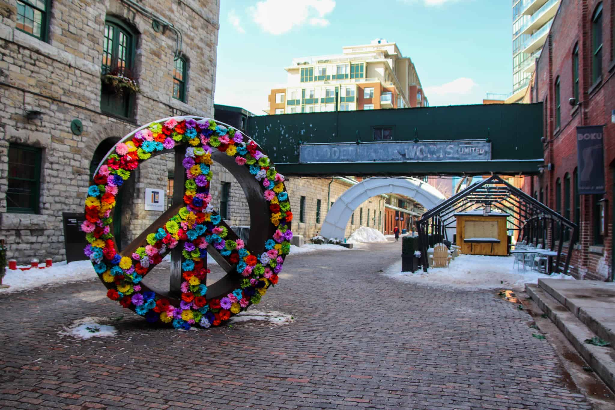 Exploring the Distillery District is one of the free things to do in Toronto