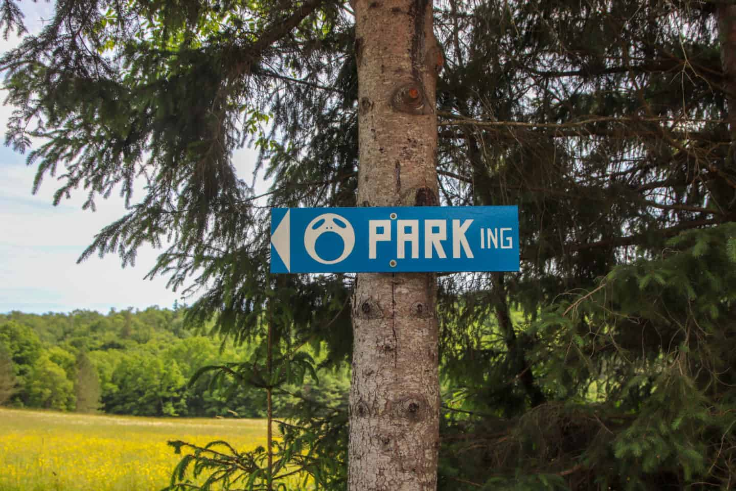 Parking sign to show you where the Screaming Heads property is