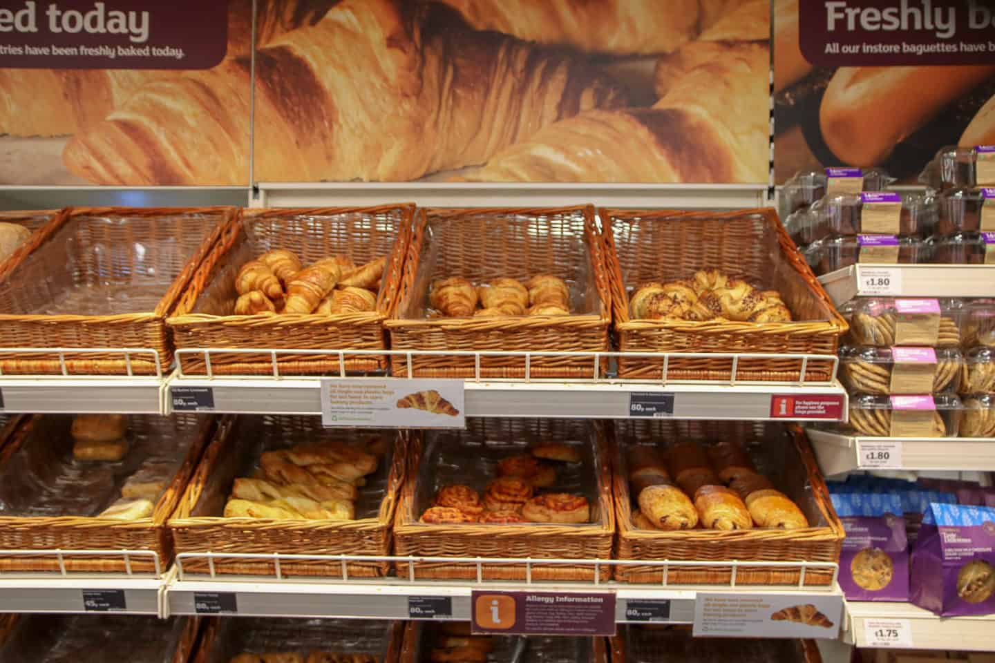 Fresh bread section in Tesco, a London grocery store
