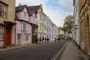 The colorful houses of Holywell Street in Oxford